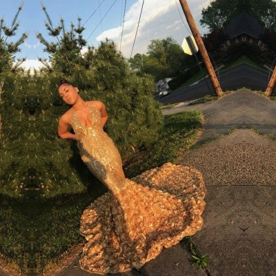 Elegant gold mermaid prom Dress UK, sequins evening party gowns BK0_2