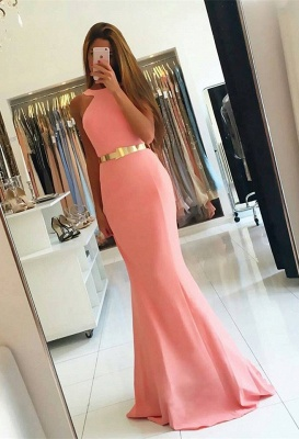 Sexy Halter Mermaid Evening Dress UK long With Golden Sash BA7094_1