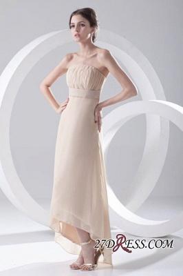 Strapless Sexy Sleeveless Hi-lo Light-Champagne Chiffon Sheath Bridesmaid Dress UKes UK_2