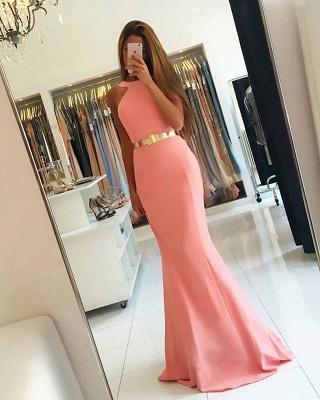 Sexy Halter Mermaid Evening Dress UK long With Golden Sash BA7094_3