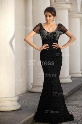 Black Scoop Lace Evening Dress UKes UK Short Sleeve Beadings Mermaid Prom Gowns_2