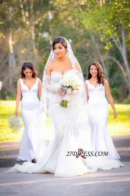 Lace Zipper Pearls Gorgeous Sweetheart Sexy Mermaid Wedding Dress_4
