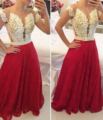 Elegant A-line Lace Appliques Prom Dress UK Pearls Cap Sleeve BT0_1