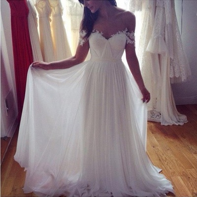 Simple But Elegant Off-the-shoulder Beach Wedding Dresses UK Floor Length With Appliques_3