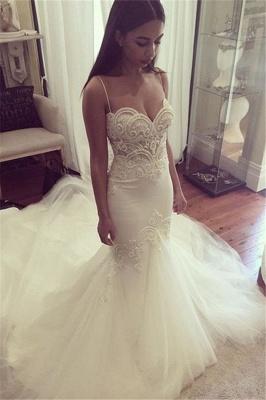 Pretty Spaghetti Straps Sweetheart Wedding Dress Summer Sheath Tulle Cheap Bridal Gown_3