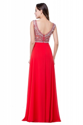 Elegant Red Long Crystal Beadings Prom Dress UK Chiffon_3