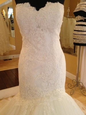 Elegant Sweetheart Lace Sexy Mermaid Wedding Dress Tulle Zipper Button Back_5