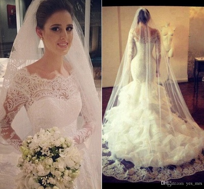 Gorgeous Wedding Dresses UK Lace  Sexy Mermaid Long Sleeve Bridal Gowns with Wedding Veil_3