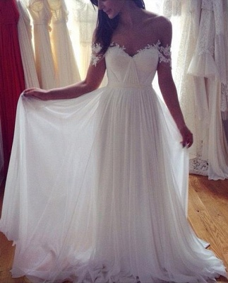 Simple But Elegant Off-the-shoulder Beach Wedding Dresses UK Floor Length With Appliques_1