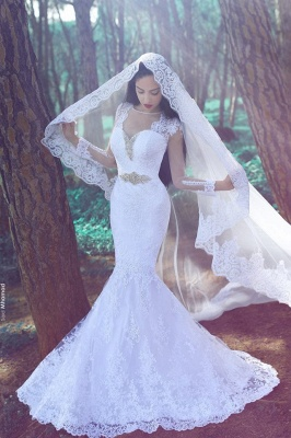 White  Sexy Mermaid Tulle Cheap Appliques Wedding Dresses UK Long Sleeves Bridal Gowns with Beadss_1