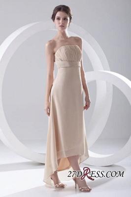 Strapless Sexy Sleeveless Hi-lo Light-Champagne Chiffon Sheath Bridesmaid Dress UKes UK_5