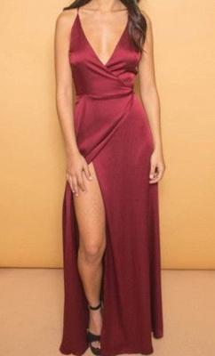 Elegant V-neck A-line Spaghetti Strap Prom Dress UK Front Split_1