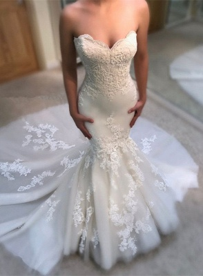Gorgeous Sweetheart Lace Wedding Dress   2019 Sexy Mermaid Bridal Gowns BA9780_1