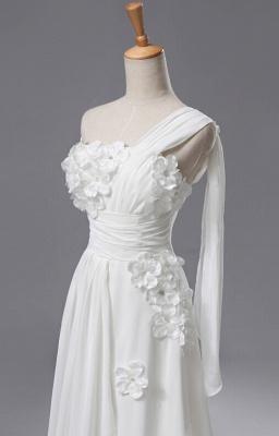 Newest One Shoulder Flowers Wedding Dress A-line_1