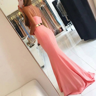 Sexy Halter Mermaid Evening Dress UK long With Golden Sash BA7094_4
