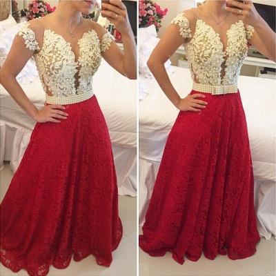 Elegant A-line Lace Appliques Prom Dress UK Pearls Cap Sleeve BT0_2