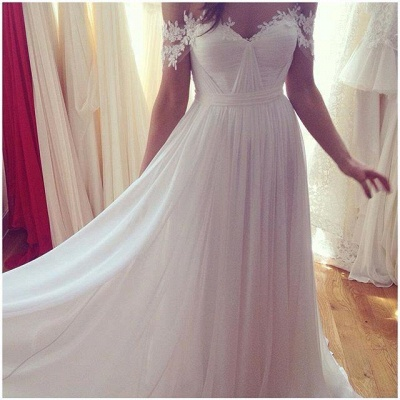Simple But Elegant Off-the-shoulder Beach Wedding Dresses UK Floor Length With Appliques_4
