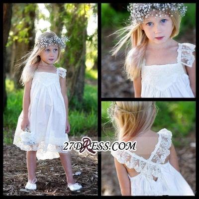 Back Cute Flower Crisscross Capped-Sleeves Girls Dresses_3