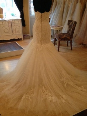 Elegant Sweetheart Lace Sexy Mermaid Wedding Dress Tulle Zipper Button Back_6