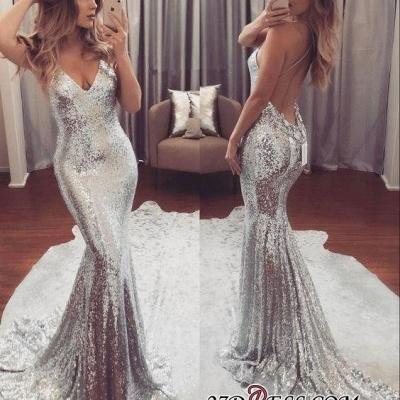 Sequins Luxury V-Neck Mermaid Backless Prom Dress UK_2