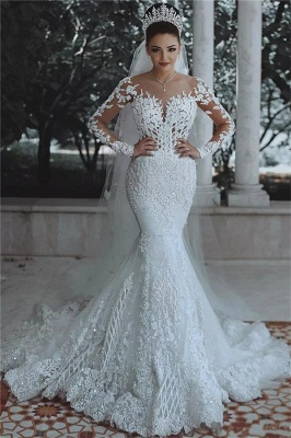 Glamorous Beaded Lace Sexy Mermaid Wedding Dresses UK with Sleeves Sheer Cheap Tulle Appliques Cheap Bride Dresses_1