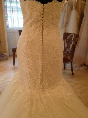 Elegant Sweetheart Lace Sexy Mermaid Wedding Dress Tulle Zipper Button Back_3
