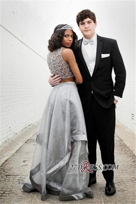 Two pieces prom Dress UK, silver evening gowns_2