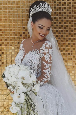 Glamorous Beaded Lace Sexy Mermaid Wedding Dresses UK with Sleeves Sheer Cheap Tulle Appliques Cheap Bride Dresses_3