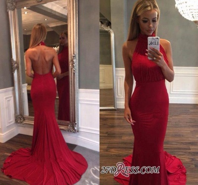 Simple Backless Ruffles Court-Train Mermaid Red Evening Gowns_1