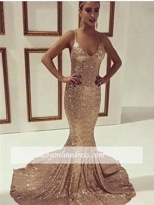 Sequined Spaghetti-Straps Mermaid Simple Sleeveless Prom Dress UK qq0200_1