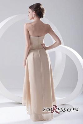 Strapless Sexy Sleeveless Hi-lo Light-Champagne Chiffon Sheath Bridesmaid Dress UKes UK_4