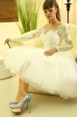 Modern Sweetheart Long Sleeve Short Wedding Dress With Lace Appliques_2