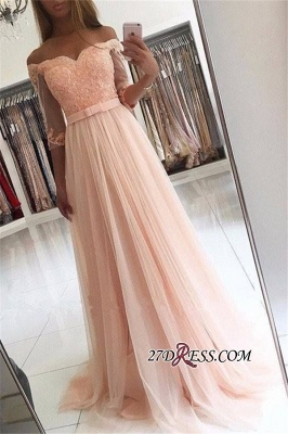 Off-the-shoulder Tulle Lace A-line Gorgeous Half-Sleeves Prom Dress UKes UK_2