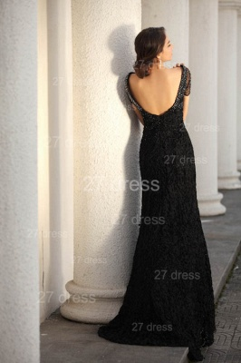 Black Scoop Lace Evening Dress UKes UK Short Sleeve Beadings Mermaid Prom Gowns_4