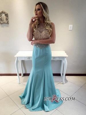Stunning Crystals Sleeveless Long Mermaid Prom Dress UK_2