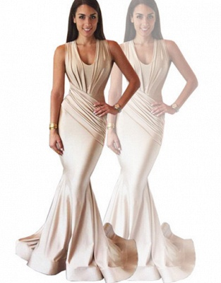 Designer Ruched Sleeveless Evening Dress UK Mermaid Floor Length BA3633_5