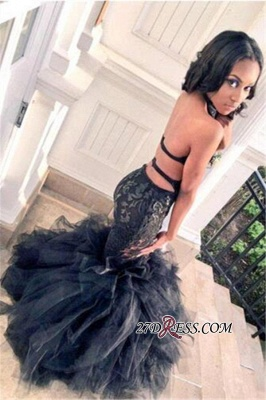 Mermaid Elegant Lace Ruffles Tulle Black Backless Prom Dress UK BK0_2