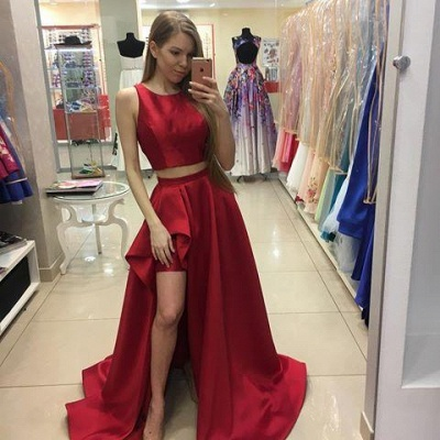 Newest Red Hi-Lo Two-Piece A-line Jewel Prom Dress UK SP0328_1