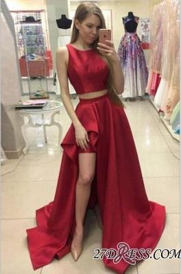 Newest Red Hi-Lo Two-Piece A-line Jewel Prom Dress UK SP0328_3