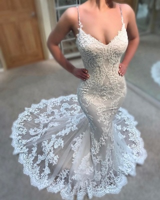 Elegant Lace Appliques Wedding Dresses UK | Spaghettis Straps  Sexy Mermaid Bridal Gowns_3