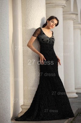 Black Scoop Lace Evening Dress UKes UK Short Sleeve Beadings Mermaid Prom Gowns_5