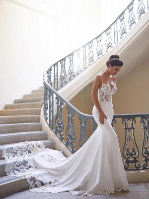 Spaghetti Strap Wedding Dress Sexy Mermaid  Lace Bridal Gown_1