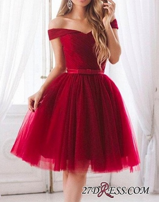Off-the-shoulder Bow Tulle Knee-length Chic A-line Evening Dress UK_1
