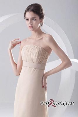 Strapless Sexy Sleeveless Hi-lo Light-Champagne Chiffon Sheath Bridesmaid Dress UKes UK_3