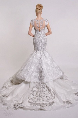 Luxurious V-Neck Wedding Dress Sexy Mermaid Crystals Lace_3