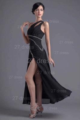 Elegant One Shoulder Chiffon Evening Dress UK Front Split Beadings_2