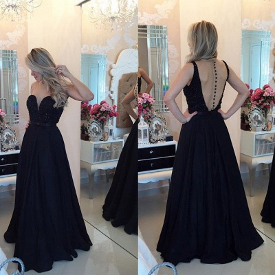 Elegant Chiffon Black A-line Prom Dress UK Zipper Button Back_2