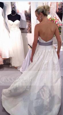 Satin White Ball Gown Wedding Dresses UK with Sweetheart Sleeveless Bow Sash Zipper Floor-length Simple Bridal Go_2