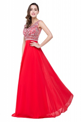 Elegant Red Long Crystal Beadings Prom Dress UK Chiffon_5