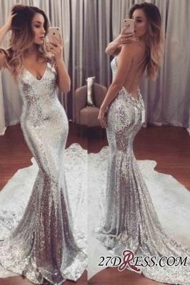 Sequins Luxury V-Neck Mermaid Backless Prom Dress UK_1